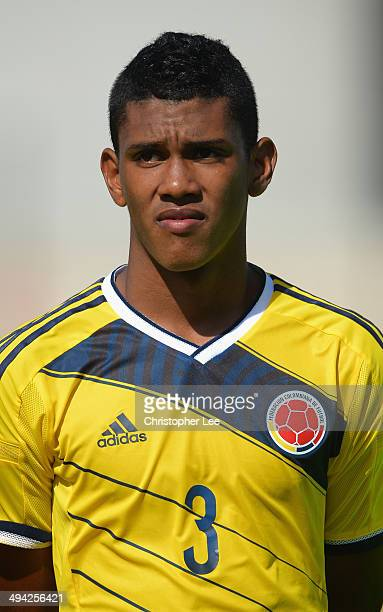 Jeison Angulo of Colombia during the Toulon Tournament Group B match between Colombia and Qatar at the Stade De Lattre on May 28, 2014 in Aubagne,...