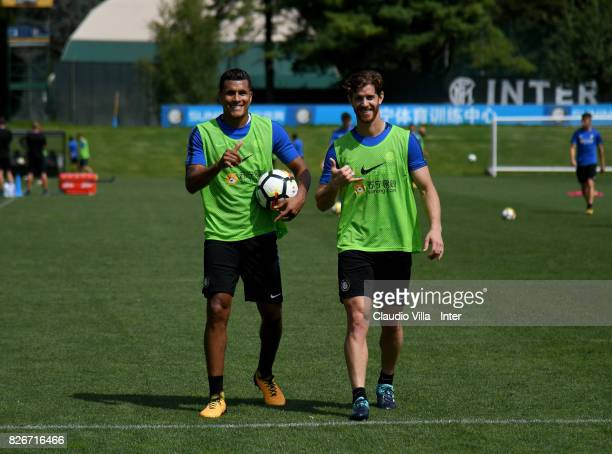 Jeison Murillo and Cristian Ansaldi of FC Internazionale pose during a training session at Suning Training Center at Appiano Gentile on August 3 2017...