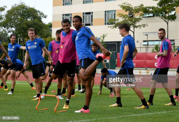 Jeison Murillo and Rigoberto Rivas of FC Internazionale look on during a training session at Bishan Sports Hall on July 26 2017 in Singapore