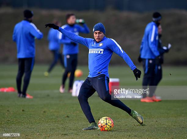 Jeison Murillo in action on during the FC Internazionale training session at the club's training ground at Appiano Gentile on at Appiano Gentile on...