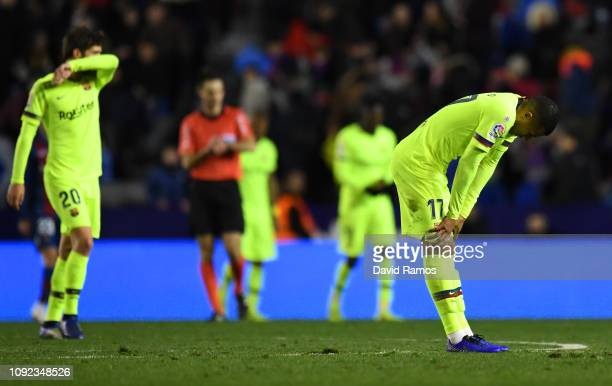 Jeison Murillo of Barcelona looks dejected in defeat after the Copa del Rey Round of 16 match between Levante and FC Barcelona at Ciutat de Valencia...