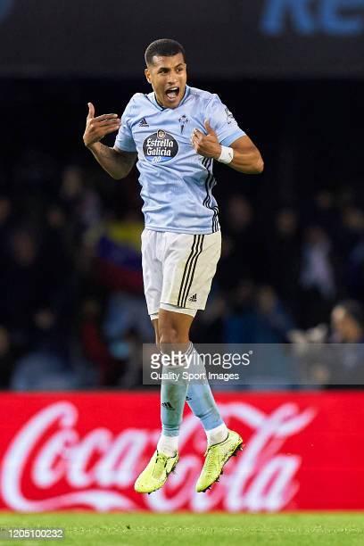 Jeison Murillo of Celta de Vigo celebrates his team's second goal scored by Pione Sisto during the Liga match between RC Celta de Vigo and Sevilla FC...