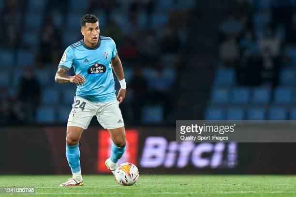 Jeison Murillo of Celta de Vigo in action during the La Liga Santander match between RC Celta de Vigo and Cadiz CF at Abanca Balaidos Stadium on...