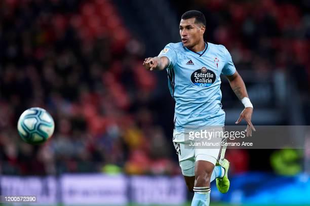 Jeison Murillo of Celta de Vigo in action during the Liga match between Athletic Club and RC Celta de Vigo at San Mames Stadium on January 19, 2020...