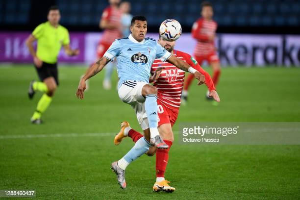 Jeison Murillo of Celta Vigo and Antonio Puertas of Granada CF battle for the ball during the La Liga Santander match between RC Celta and Granada CF...