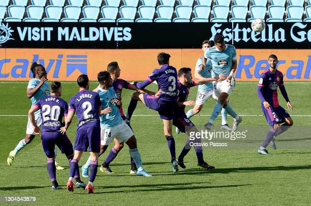 Jeison Murillo of Celta Vigo scores their sides first goal during the La Liga Santander match between RC Celta and Real Valladolid CF at...