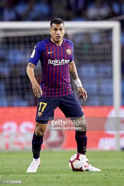 Jeison Murillo of FC Barcelona in action during the La Liga match between RC Celta de Vigo and FC Barcelona at Abanca Balaidos Stadium on May 04,...