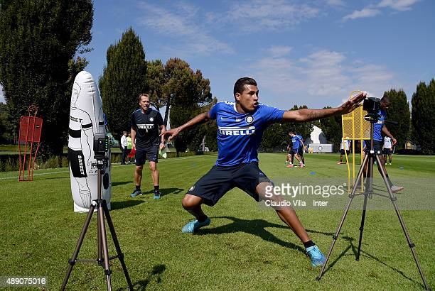 Jeison Murillo of FC Internazionale in action during a training session at the club's training ground at Appiano Gentile on September 19, 2015 in...