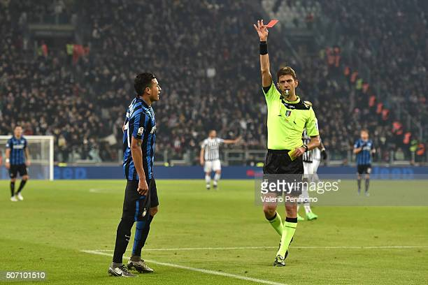 Jeison Murillo of FC Internazionale Milano receives the red card from referee Paolo Tagliavento during the TIM Cup match between Juventus FC and FC...
