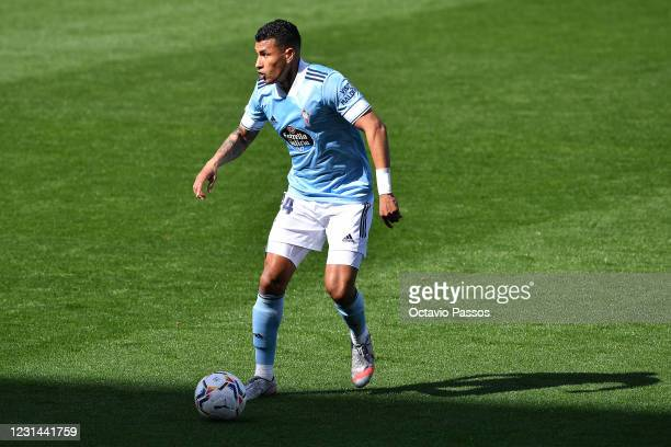 Jeison Murillo of RC Celta in action during the La Liga Santander match between RC Celta and Real Valladolid CF at Abanca-Balaídos on February 28,...