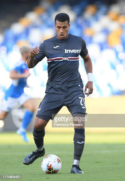 Jeison Murillo of UC Sampdoria in actionduring the Serie A match between SSC Napoli and UC Sampdoria at Stadio San Paolo on September 14, 2019 in...