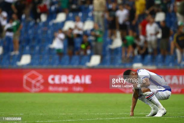 Jeison Murillo of UC Sampdoria shows his dejection at the end of the Serie A match between US Sassuolo and UC Sampdoria at Mapei Stadium - Citta del...