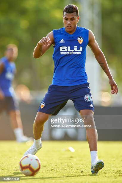 Jeison Murillo of Valencia CF in action during training session at Paterna Training Centre on July 10 2018 in Valencia Spain