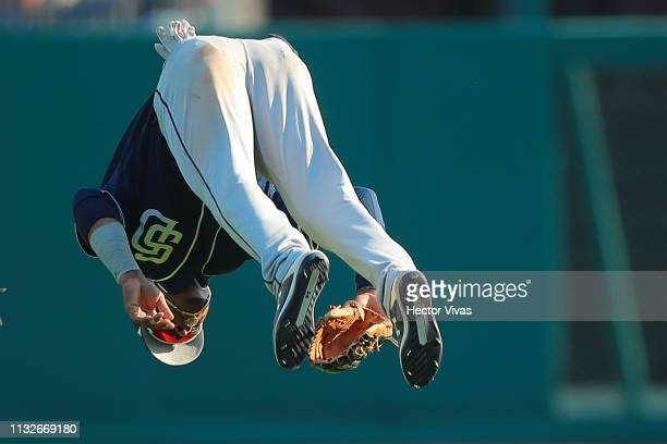 Jeisson Rosario of San Diego Padres celebrates after winning the friendly game between San Diego Padres and Diablos Rojos at Alfredo Harp Helu...