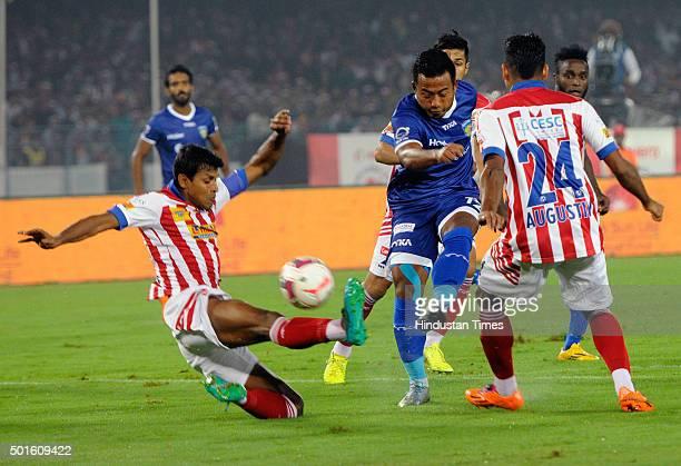 Jeja Lalpekhlua of Chennaiyin FC in action against Atletico de Kolkata during their ISL semifinal second leg match at Yuva Bharati Krirangan on...