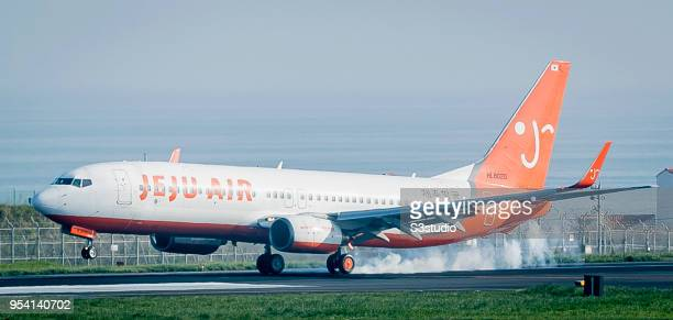 Jeju Air Boeing 73786N prepares to land at Jeju International Airport on 18 April 2018 in Jeju South Korea Korea's budget carriers are now expanding...