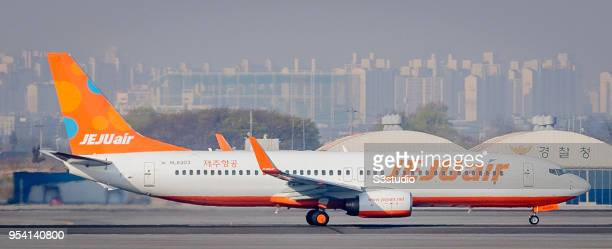 Jeju Air Boeing 7378FH in runway at Gimpo International Airport on 17 April 2018 in Seoul South Korea Korea's budget carriers are now expanding their...