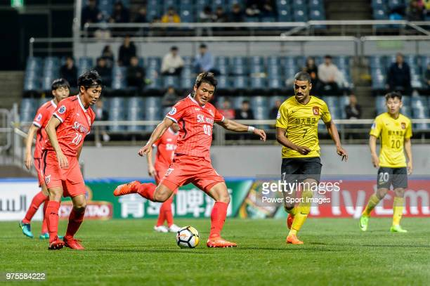 Jeju FC Midfielder Lee ChanDong fights for the ball with Guangzhou Forward Alan de Carvalho during the AFC Champions League 2018 Group Stage G Match...