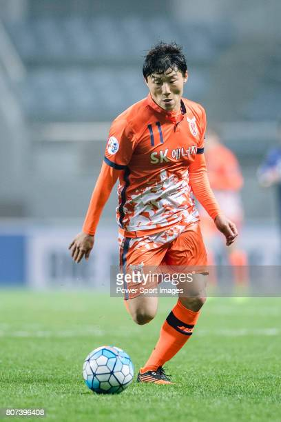 Jeju United Forward Hwang Ilsu in action during the AFC Champions League 2017 Group H match Between Jeju United FC vs Gamba Osaka at the Jeju World...