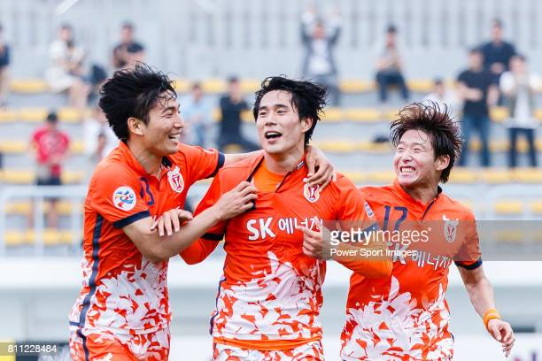 Jeju United Forward Jin Seonguk celebrating his goal with his teammates during the AFC Champions League 2017 Round of 16 match between Jeju United FC...