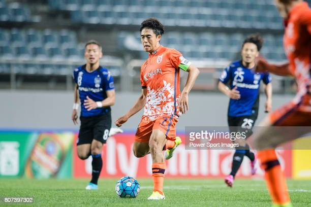 Jeju United Midfielder Kwon Soonhyung in action during the AFC Champions League 2017 Group H match Between Jeju United FC vs Gamba Osaka at the Jeju...