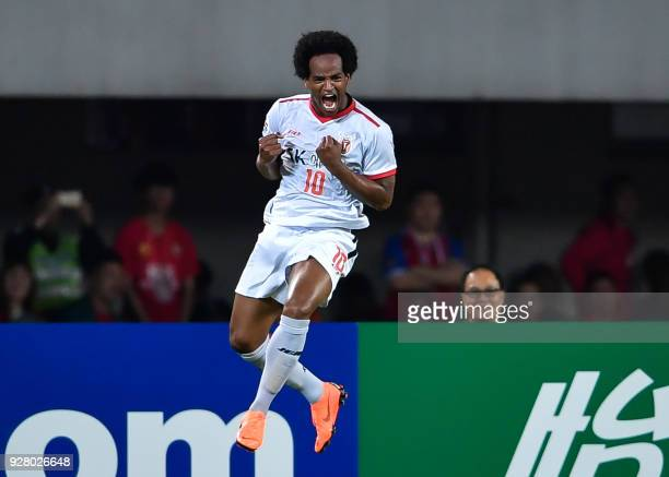 TOPSHOT Jeju United's Magno Da Cruz reacts during the AFC Champions League group stage football match between China's Guangzhou Evergrande and South...