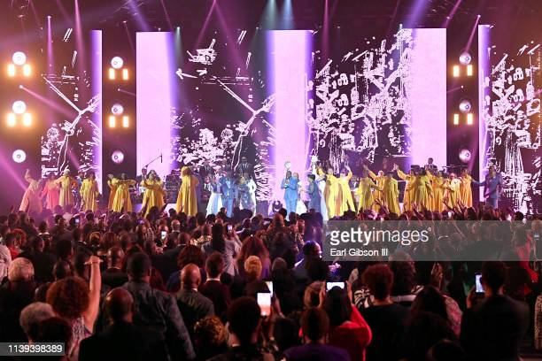 Jekalyn Carr performs during the 34th annual Stellar Gospel Music Awards at the Orleans Arena on March 29 2019 in Las Vegas Nevada