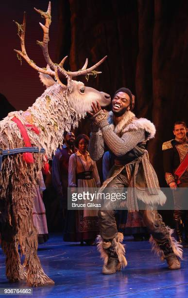 Jelani Alladin as Kristoff and Sven take their opening night curtain call for Disney's new hit musical Frozen on Broadway at The St James Theatre on...