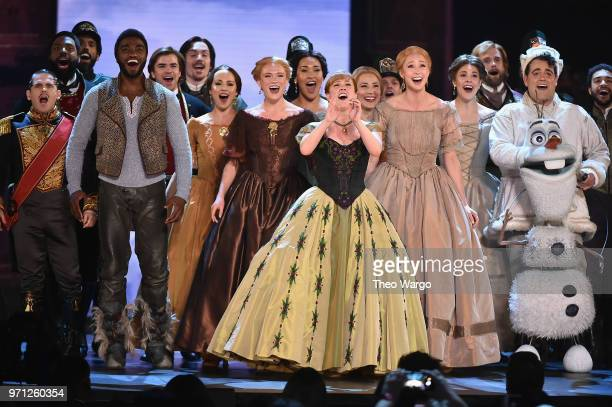 Jelani Alladin Patti Murin Greg Hildreth and the cast of Frozen perform onstage during the 72nd Annual Tony Awards at Radio City Music Hall on June...