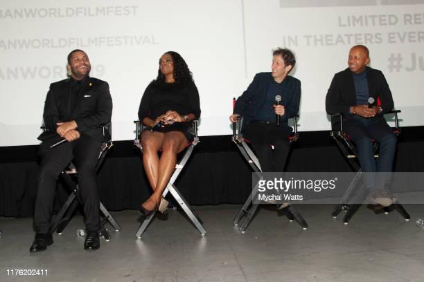 "Jelani Com, O'Shea Jackson jr, Karan Kendrick, Tim Blake Nelson and Bryan Stevenson speak during the Q & A following the premiere of ""Just Mercy"" on..."