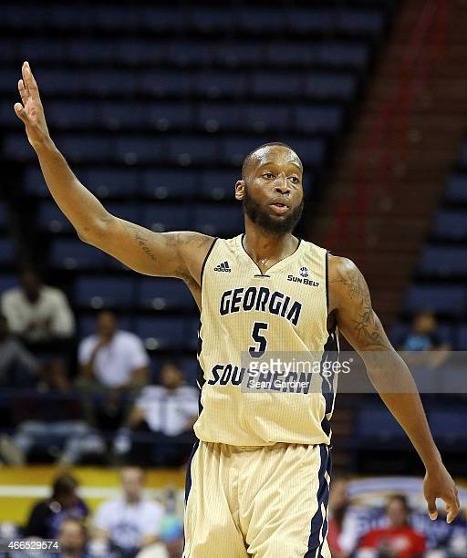 Jelani Hewitt of the Georgia Southern Eagles reacts as his team takes on the during the Sun Belt Conference Men's Championship game at the UNO...