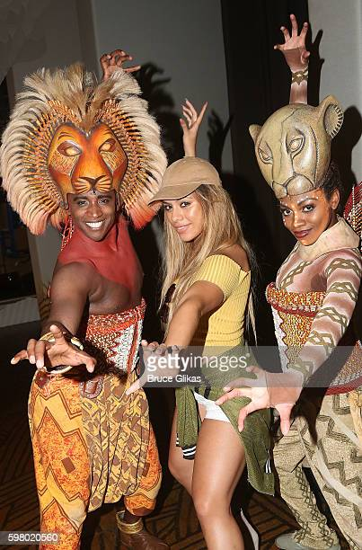 Jelani Remy as 'Simba' Fifth Harmony's group member Dinah Jane Hansen and Adrienne Walker as 'Nala' pose backstage at the hit musical 'The Lion King'...