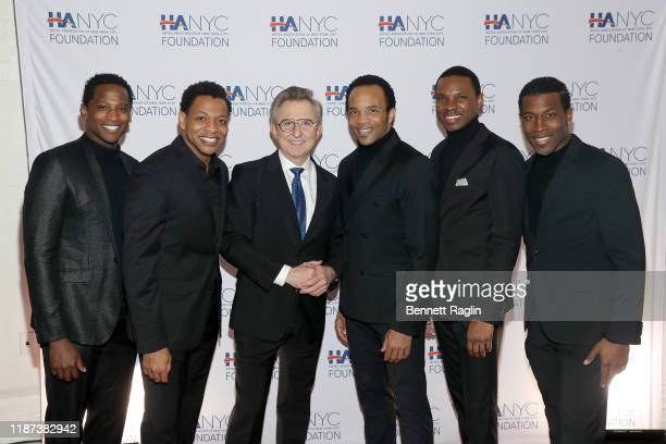 Jelani Remy Derrick Baskin Thomas Schumacher James Harkness Shawn Bowers and Elijah Ahmad Lewis attend The Red Carpet Hospitality Gala Hosted by the...