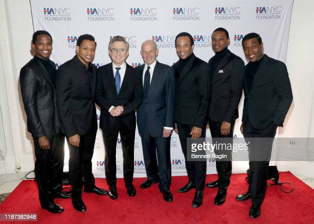 Jelani Remy Derrick Baskin Thomas Schumacher Jonathan M Tisch James Harkness Shawn Bowers and Elijah Ahmad Lewis attend The Red Carpet Hospitality...