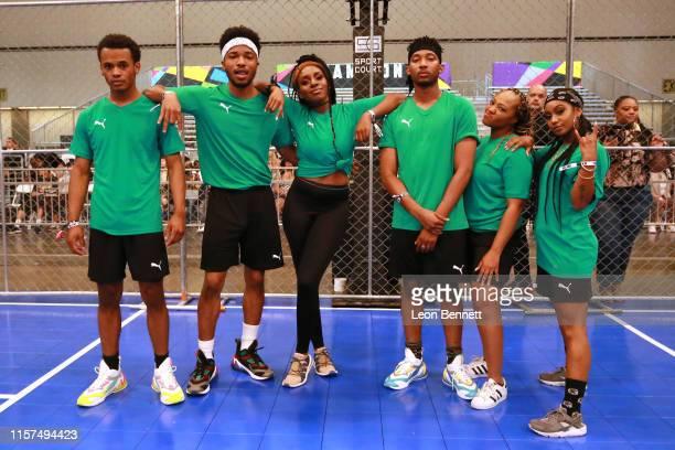 Jelani Winston Christopher Jefferson Karen Obilom RJ Walker Perri Camper and Tetona Jackson attend the 2019 BET Experience Celebrity Dodgeball Game...