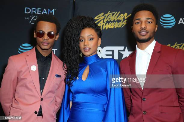 Jelani Winston, Katlyn Nichol and Christopher Jefferson pose in the press room at the 34th annual Stellar Gospel Music Awards at the Orleans Arena on...