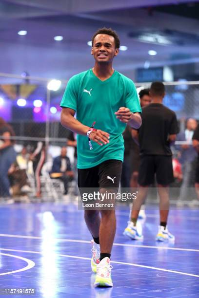 Jelani Winston plays in the 2019 BET Experience Celebrity Dodgeball Game at Staples Center on June 21 2019 in Los Angeles California