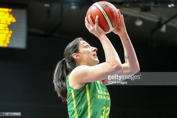 Jelena Brooks seen in action during EuroLeague Women group B match between Asseco Arka Gdynia and Sopron Basket in Gdynia. .
