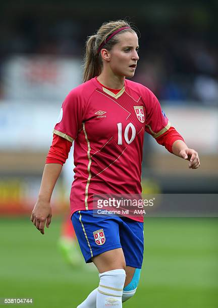 Jelena Cankovic of Serbia during the UEFA Women's European Championship Qualifier match between England and Serbia at Adams Park on June 4 2016 in...
