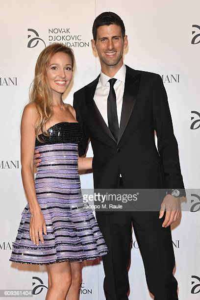 Jelena Djokovic and Novak Djokovic attend the Milano Gala Dinner benefitting the Novak Djokovic Foundation presented by Giorgio Armani at Castello...