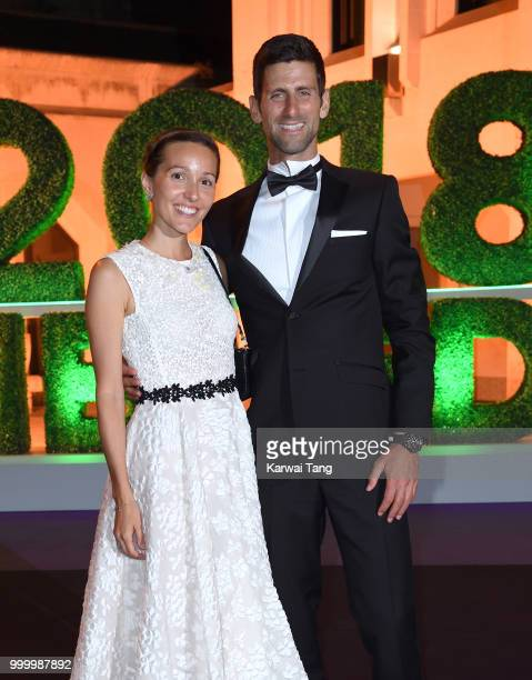 Jelena Djokovic and Novak Djokovic attend the Wimbledon Champions Dinner at The Guildhall on July 15, 2018 in London, England.