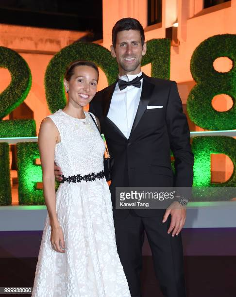 Jelena Djokovic and Novak Djokovic attend the Wimbledon Champions Dinner at The Guildhall on July 15 2018 in London England