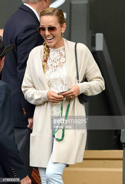 Jelena Djokovic attends day nine of the Wimbledon Tennis Championships at Wimbledon on July 8 2015 in London England