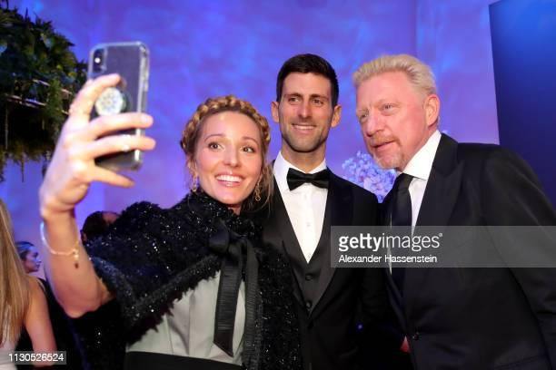 Jelena Djokovic takes a selfie with Laureus World Sportsman of The Year 2019 Nominee Novak Djokovic and Laureus Academy Member Boris Becker during...