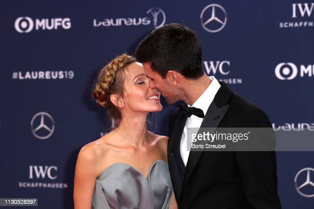 Jelena Djokovic with Laureus World Sportsman of The Year 2019 Nominee Novak Djokovic kiss during the 2019 Laureus World Sports Awards on February 18...