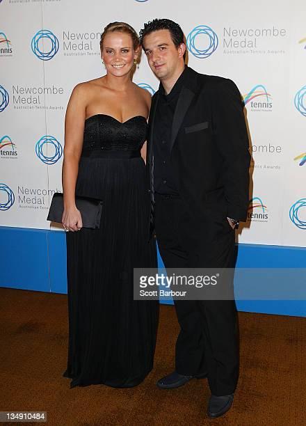 Jelena Dokic and Tin Bikic arrive at the 2011 Newcombe Medal at Crown Palladium on December 5, 2011 in Melbourne, Australia.