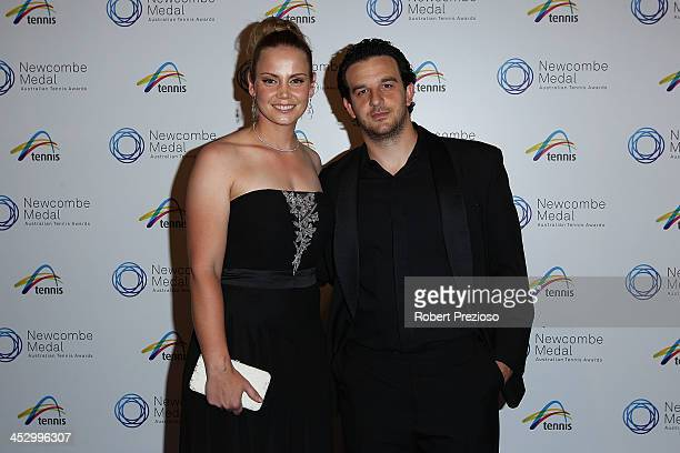 Jelena Dokic and Tin Bikic arrive prior to the 2013 Newcombe Medal at Crown Palladium on December 2, 2013 in Melbourne, Australia.