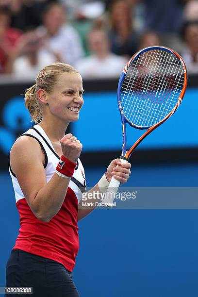 Jelena Dokic of Australia celebrates victory in her first round match against Zuzana Ondraskova of Czech Republic during day one of the 2011...