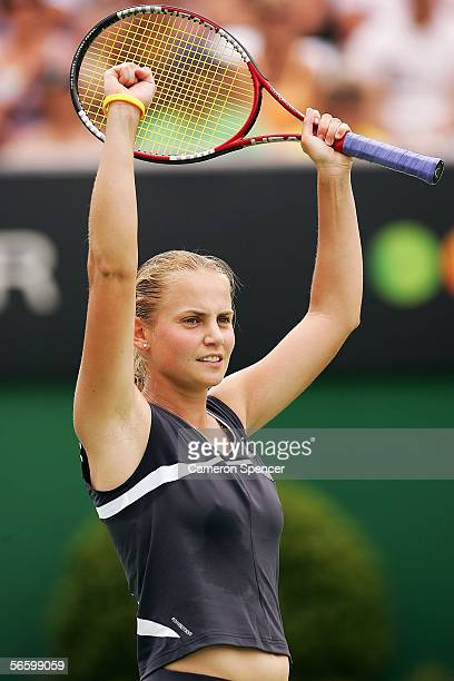 Jelena Dokic of Australia celebrates what she thought was victory in her first round match against Virginie Razzano France during day one of the...