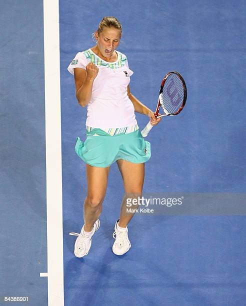 Jelena Dokic of Australia celebrates winning the first set in her second round match against Anna Chakvetadze of Russia during day three of the 2009...